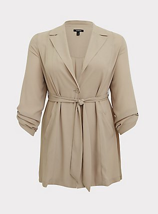 Plus Size Taupe Georgette Self Tie Trench Coat, ATMOSPHERE, flat
