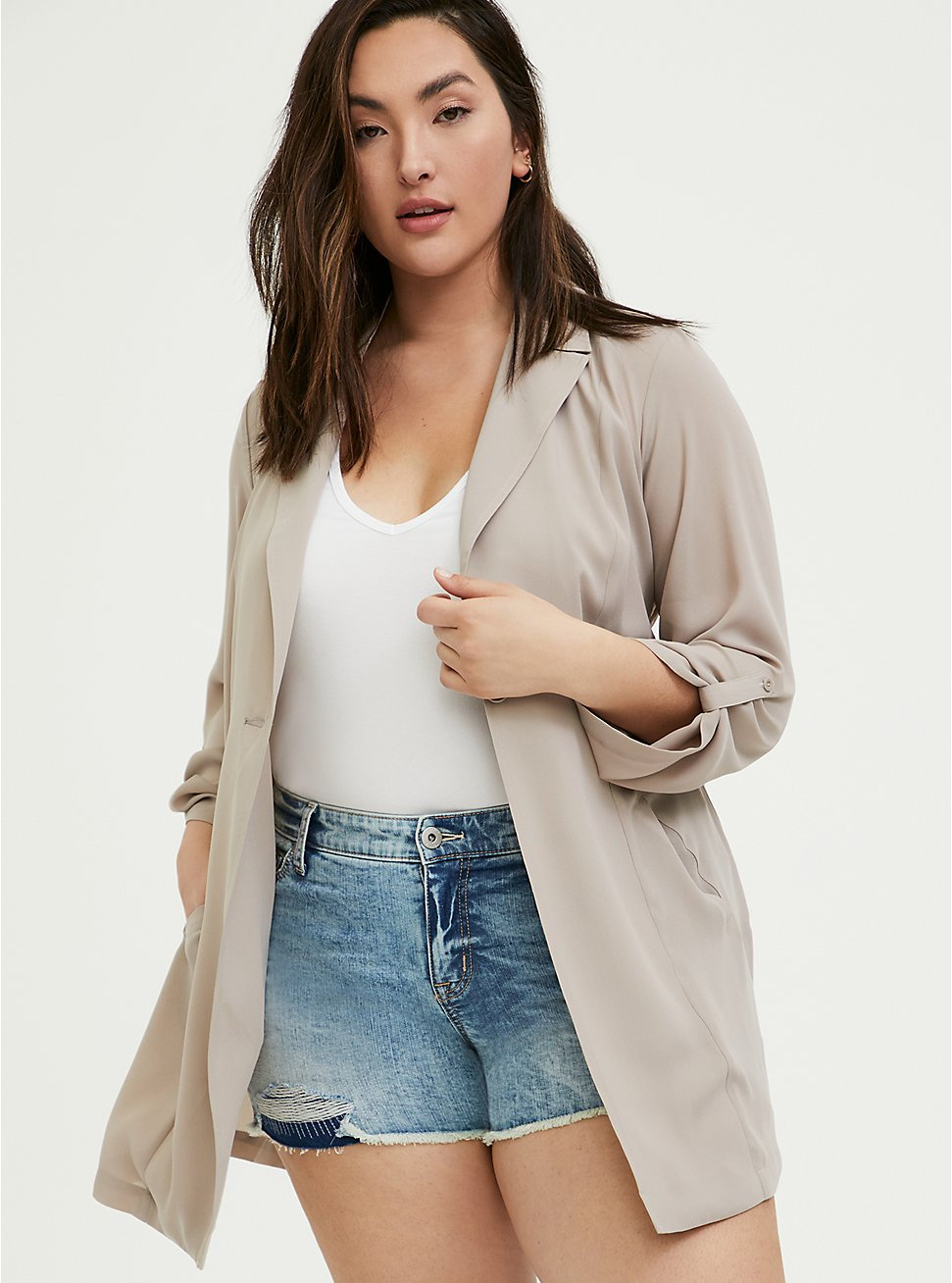 Plus Size Taupe Georgette Self Tie Trench Coat, ATMOSPHERE, hi-res