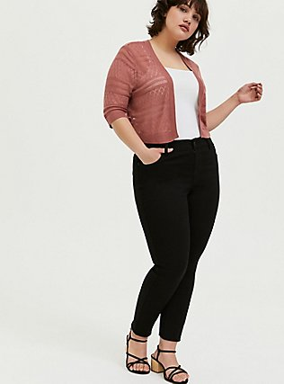 Plus Size Dusty Rose Pointelle Open Front Shrug, WITHERED ROSE PINK, alternate