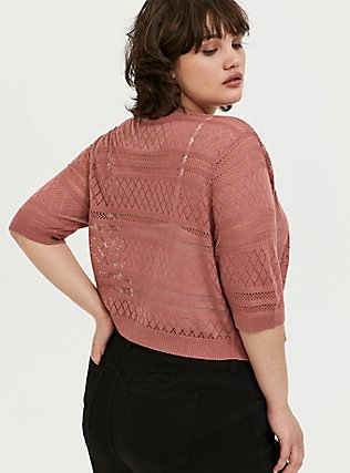 Dusty Rose Pointelle Open Front Shrug, WITHERED ROSE PINK, alternate
