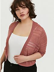Dusty Rose Pointelle Open Front Shrug, WITHERED ROSE PINK, hi-res