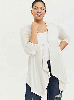 Plus Size Super Soft Oatmeal Crochet Back Hi-Lo Cardigan, OATMEAL HEATHER, alternate