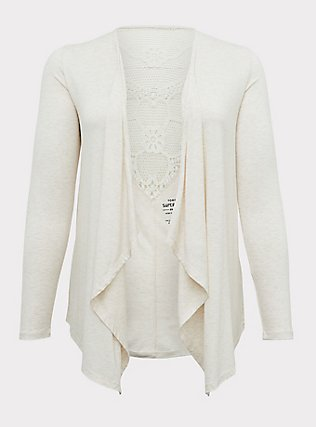 Plus Size Super Soft Oatmeal Crochet Back Hi-Lo Cardigan, OATMEAL HEATHER, flat