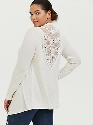 Plus Size Super Soft Oatmeal Crochet Back Hi-Lo Cardigan, OATMEAL HEATHER, hi-res