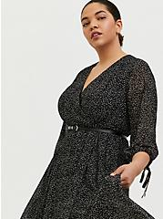 Plus Size Black Polka Dot Flocked Chiffon Belted Midi Dress, DOTS - BLACK, alternate