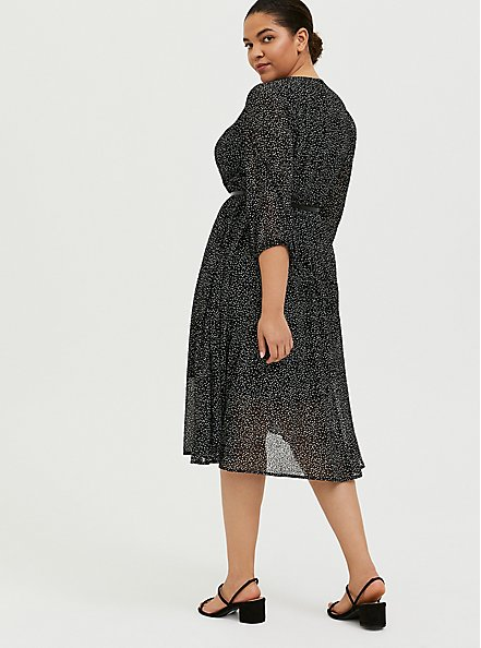 Plus Size Black Polka Dot Flocked Chiffon Belted Midi Dress, DOTS - BLACK, alternate