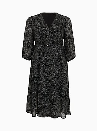 Black Polka Dot Flocked Chiffon Belted Midi Dress, DOTS - BLACK, flat