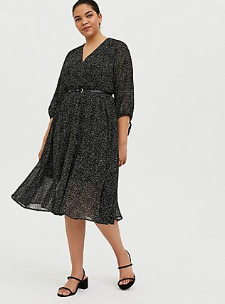 Plus Size Black Polka Dot Flocked Chiffon Belted Midi Dress, DOTS - BLACK, hi-res
