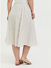 White & Grey Stripe Linen Button Midi Skirt, STRIPE-BLACK, alternate