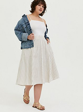 Plus Size White & Grey Stripe Linen Button Midi Skirt, STRIPE-BLACK, alternate