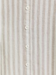 White & Grey Stripe Linen Button Midi Skirt, STRIPE-BLACK, alternate