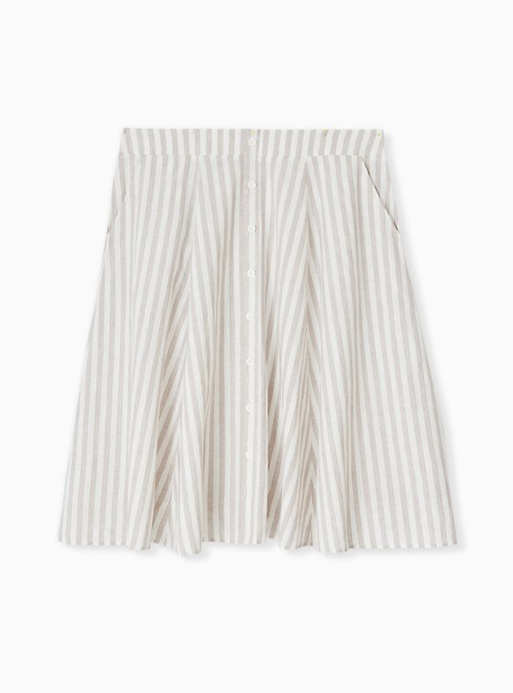 Plus Size White & Grey Stripe Linen Button Midi Skirt, , flat
