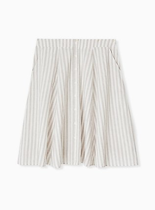 Plus Size White & Grey Stripe Linen Button Midi Skirt, STRIPE-BLACK, flat
