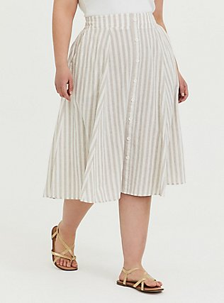 Plus Size White & Grey Stripe Linen Button Midi Skirt, STRIPE-BLACK, hi-res