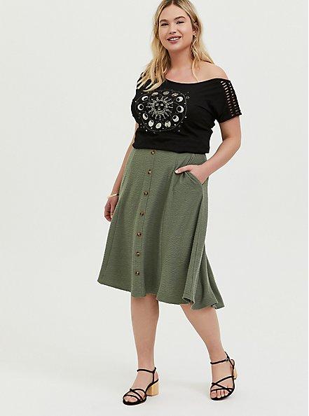 Plus Size Green Textured Button Midi Skirt, AGAVE GREEN, alternate