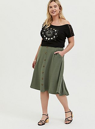 Green Textured Button Midi Skirt, AGAVE GREEN, alternate