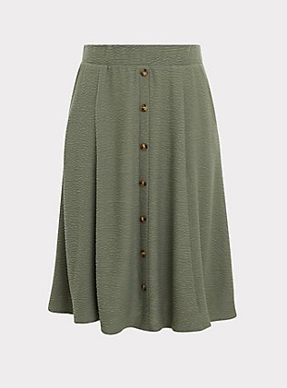 Green Textured Button Midi Skirt, AGAVE GREEN, flat