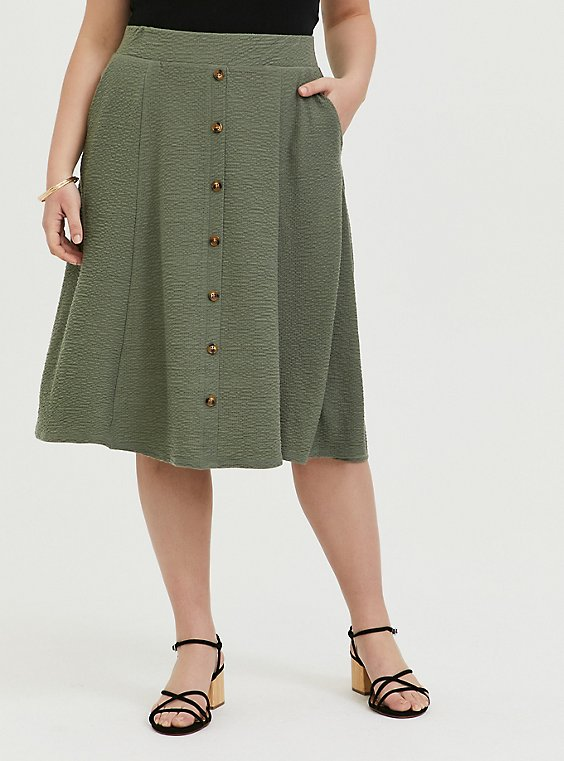 Plus Size Green Textured Button Midi Skirt, , hi-res