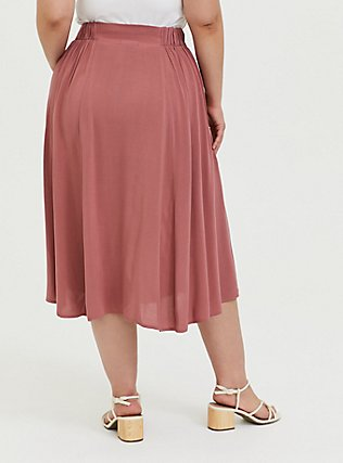 Rose Pink Challis Button Midi Skirt, WITHERED ROSE PINK, alternate