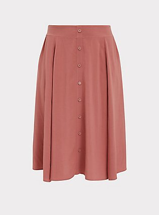 Rose Pink Challis Button Midi Skirt, WITHERED ROSE PINK, flat