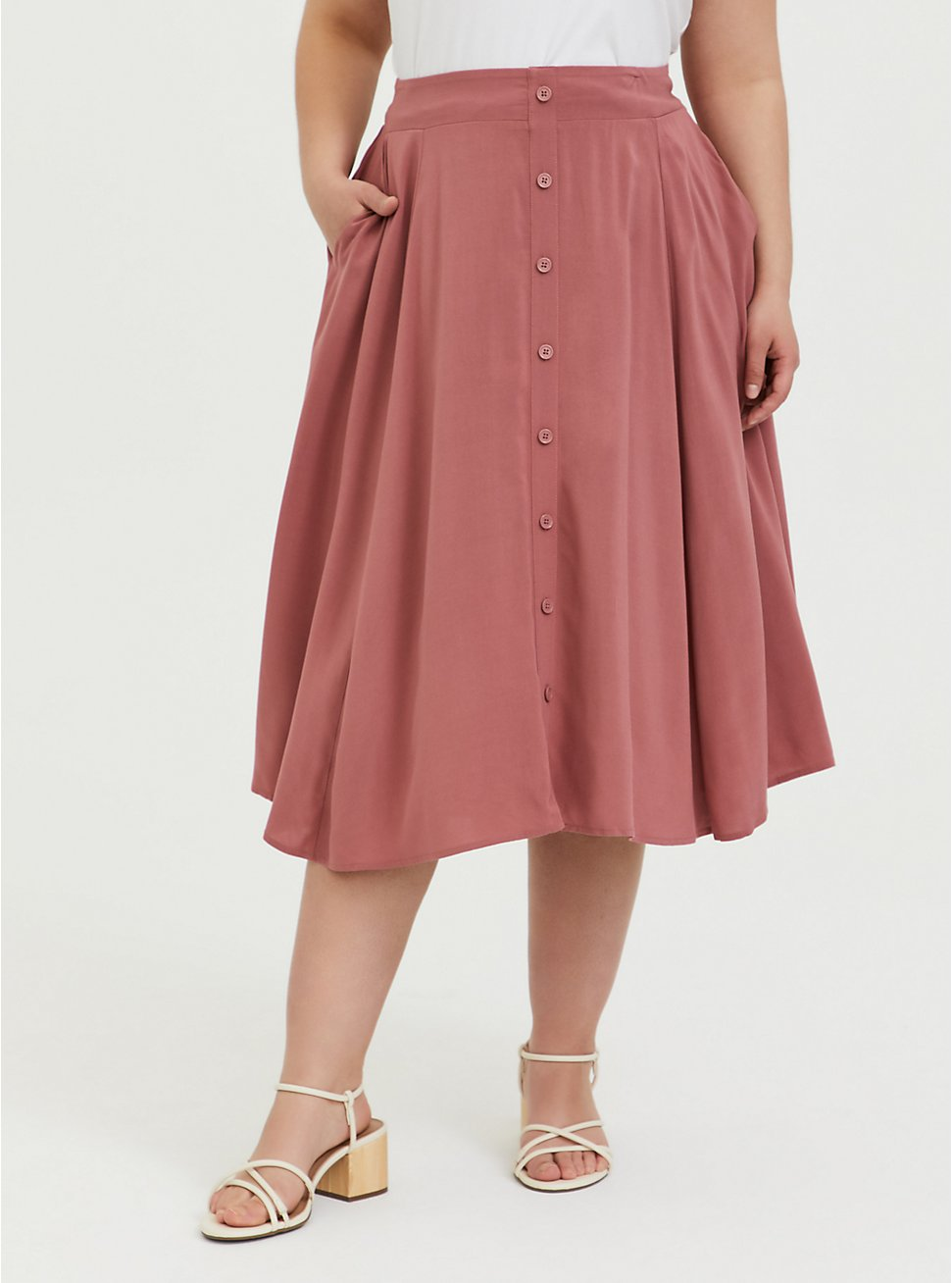 Rose Pink Challis Button Midi Skirt, WITHERED ROSE PINK, hi-res