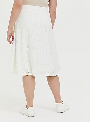 Plus Size Ivory Eyelet Button Midi Skirt, CLOUD DANCER, alternate