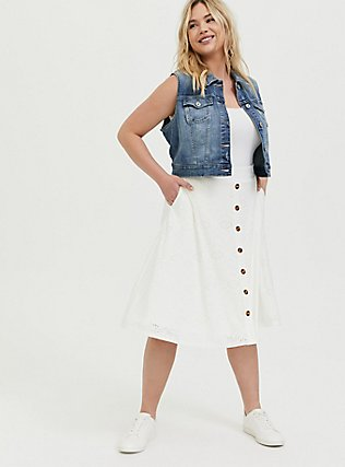 Ivory Eyelet Button Midi Skirt, CLOUD DANCER, alternate