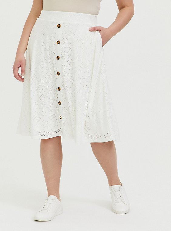 Plus Size Ivory Eyelet Button Midi Skirt, , hi-res