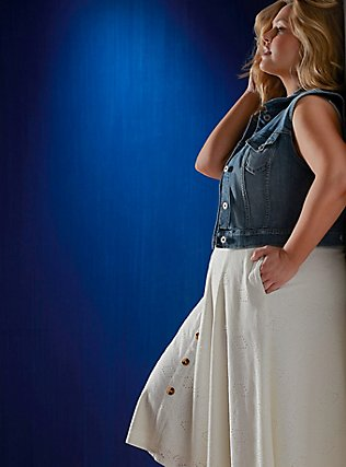 Ivory Eyelet Button Midi Skirt, CLOUD DANCER, pdped