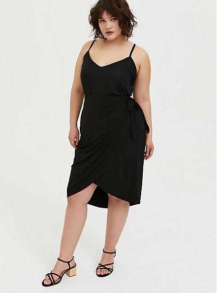 Plus Size Black Studio Knit Wrap Midi Skirt, DEEP BLACK, alternate