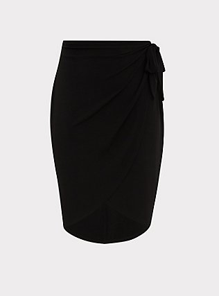 Black Studio Knit Wrap Midi Skirt, DEEP BLACK, flat