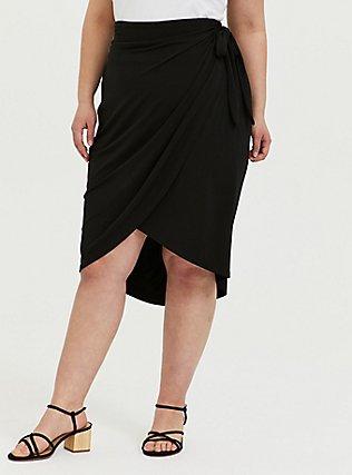 Plus Size Black Studio Knit Wrap Midi Skirt, DEEP BLACK, hi-res