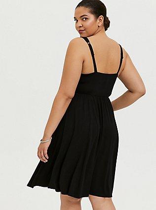 Plus Size Super Soft Black Ruched Skater Dress, DEEP BLACK, alternate