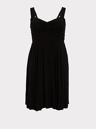 Plus Size Super Soft Black Ruched Skater Dress, DEEP BLACK, flat