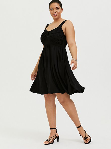 Plus Size Super Soft Black Ruched Skater Dress, DEEP BLACK, hi-res
