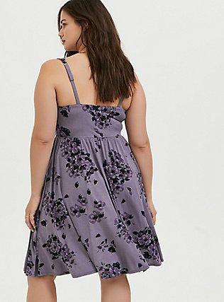 Super Soft Slate Grey Floral Ruched Skater Dress, FLORALS-PURPLE, alternate