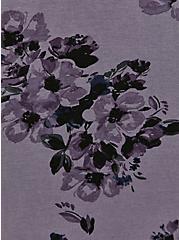 Plus Size Super Soft Slate Grey Floral Ruched Skater Dress, FLORALS-PURPLE, alternate