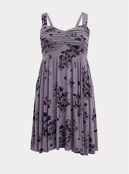 Super Soft Slate Grey Floral Ruched Skater Dress, FLORALS-PURPLE, hi-res