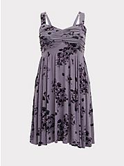 Plus Size Super Soft Slate Grey Floral Ruched Skater Dress, FLORALS-PURPLE, hi-res