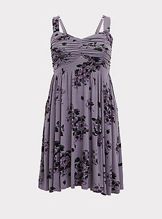Super Soft Slate Grey Floral Ruched Skater Dress, FLORALS-PURPLE, flat