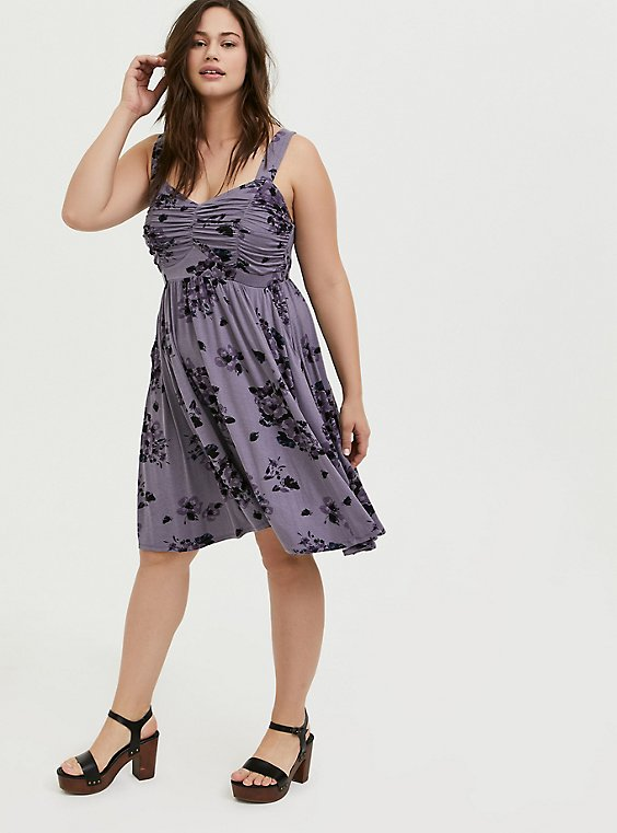 Plus Size Super Soft Slate Grey Floral Ruched Skater Dress, , hi-res