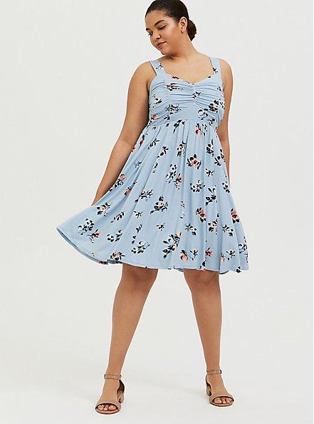 Super Soft Light Blue Floral Ruched Skater Dress, FLORALS-BLUE, alternate