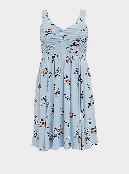 Super Soft Light Blue Floral Ruched Skater Dress, FLORALS-BLUE, hi-res