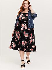 Super Soft Black Floral Midi Dress, FLORALS-BLACK, alternate