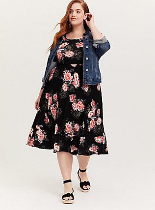 Plus Size Super Soft Black Floral Midi Dress, FLORALS-BLACK, alternate