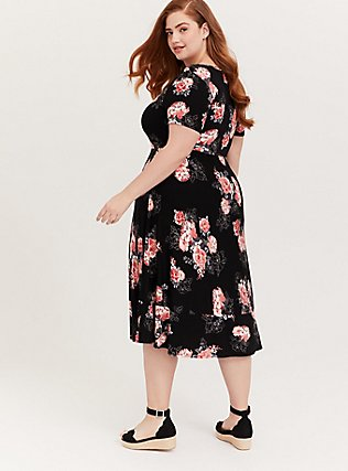 Super Soft Black Floral Midi Dress, FLORALS-BLACK, alternate