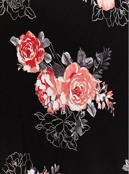 Plus Size Super Soft Black Floral Midi Dress, FLORALS-BLACK, alternate