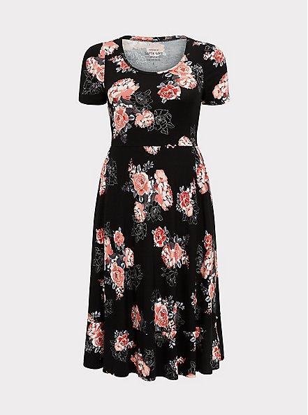 Plus Size Super Soft Black Floral Midi Dress, FLORALS-BLACK, hi-res