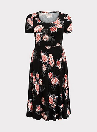 Plus Size Super Soft Black Floral Midi Dress, FLORALS-BLACK, flat