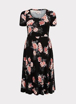 Super Soft Black Floral Midi Dress, FLORALS-BLACK, flat